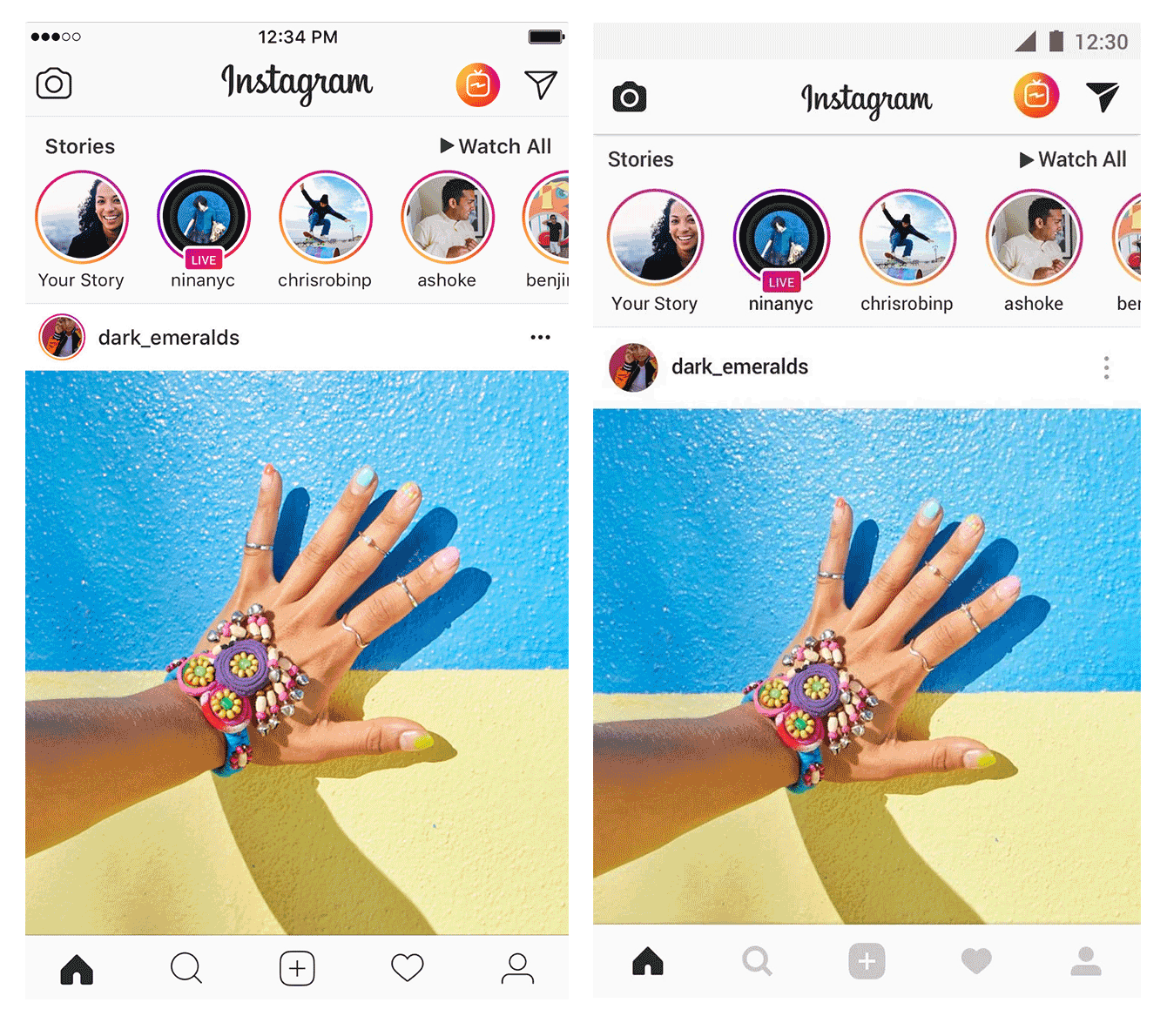 Left — Instagram on iOS; right — Instagram on Android