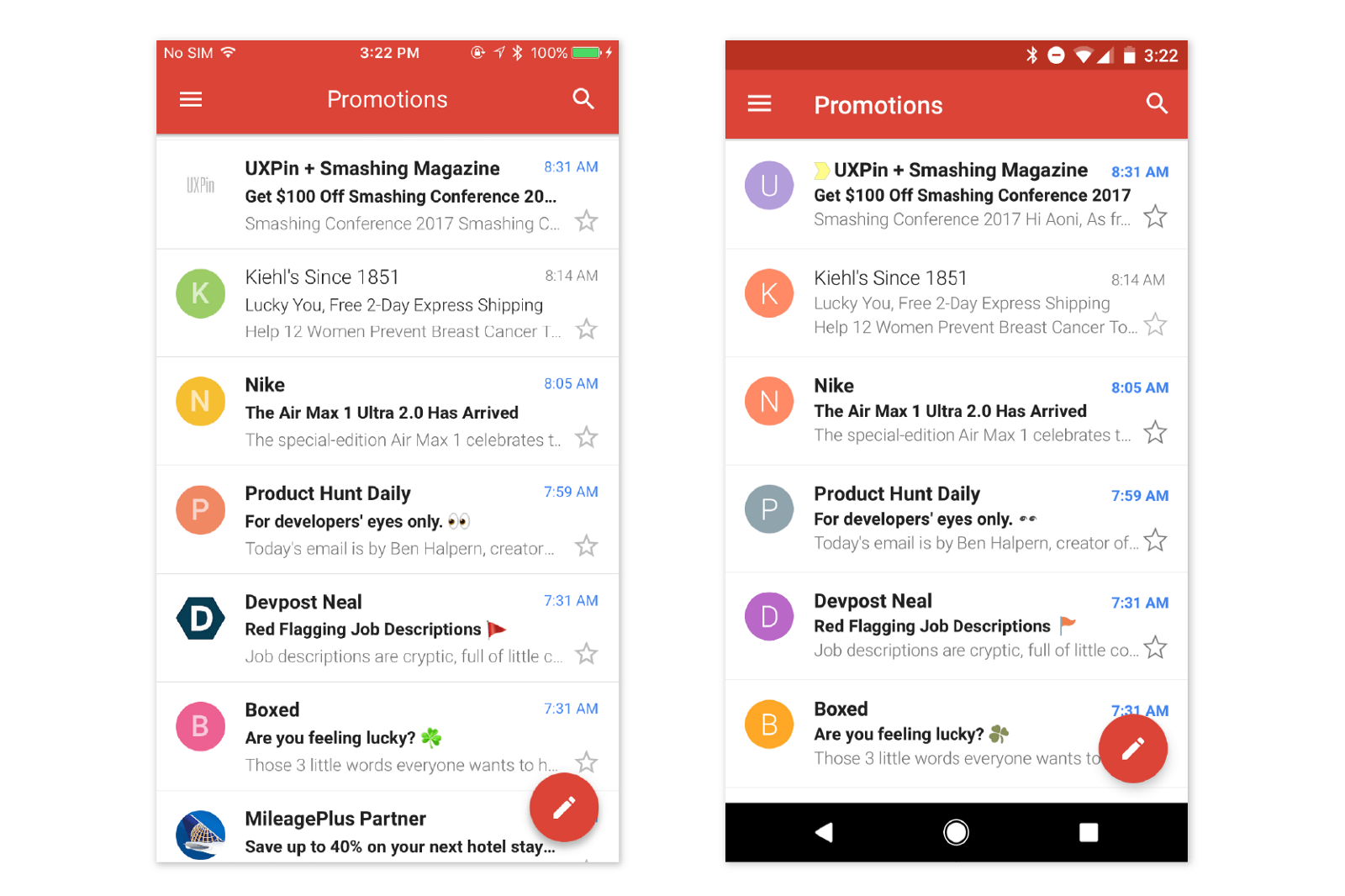 Left — Gmail on iOS; right — Gmail on Android