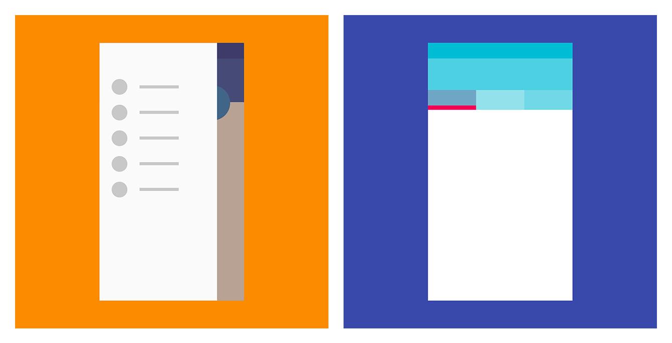 Left — drawer navigation menu; right — tabs (Material Design)