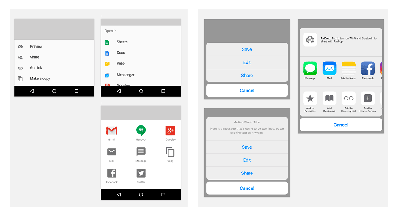Left — standard Material Design bottom sheets; right — action sheet in iOS app