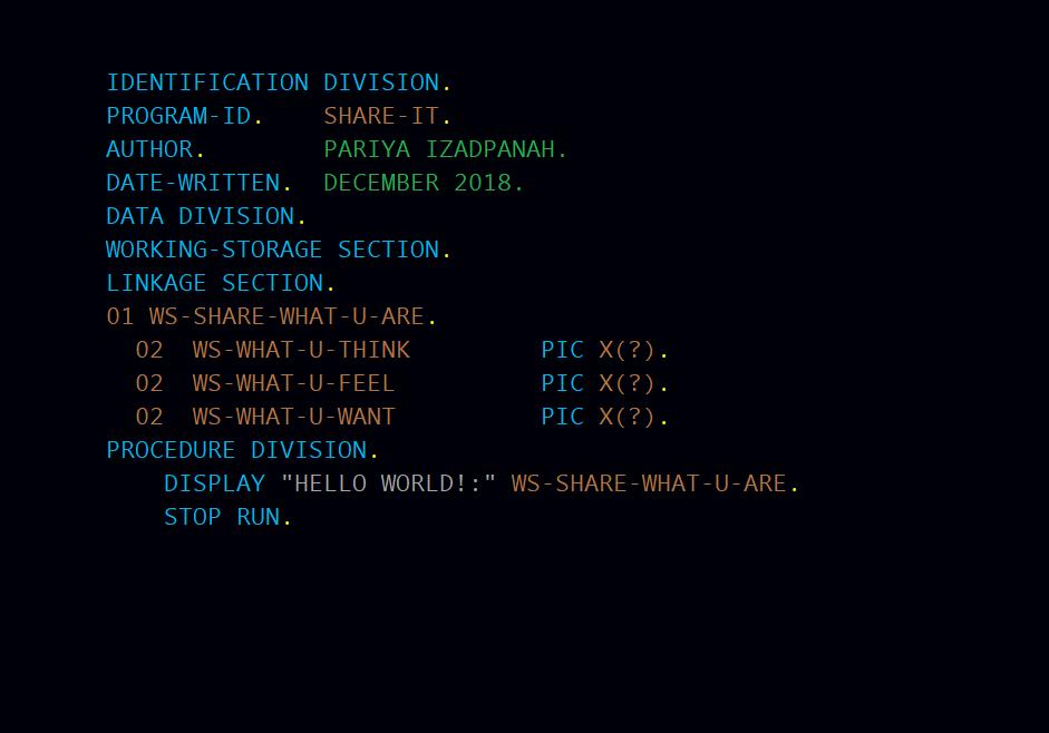 Hello World in COBOL