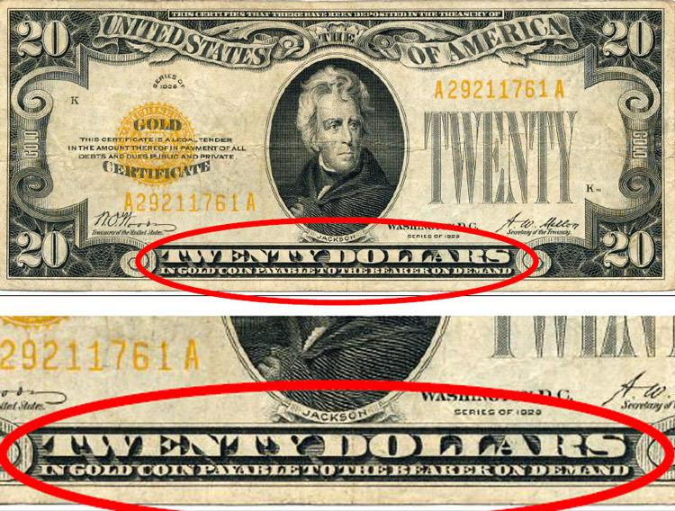 نوشته ای که میگه اگه شما این پول رو به بانک می دادی باید در ازاش یک قطعه طلای 20 دلاری بهت میدادن