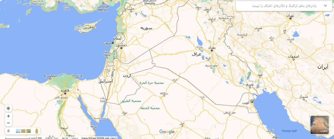 مرز های اسرائیل بر روی نقشه