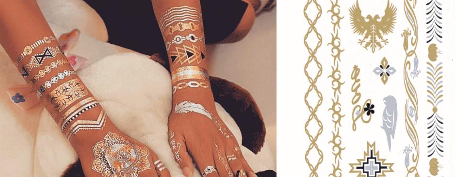 تاتو جواهرات | تاتو برچسبی | برچسب جواهرات Decal Metallic Temporary tattoo - Jewelry Tattoo Sticker