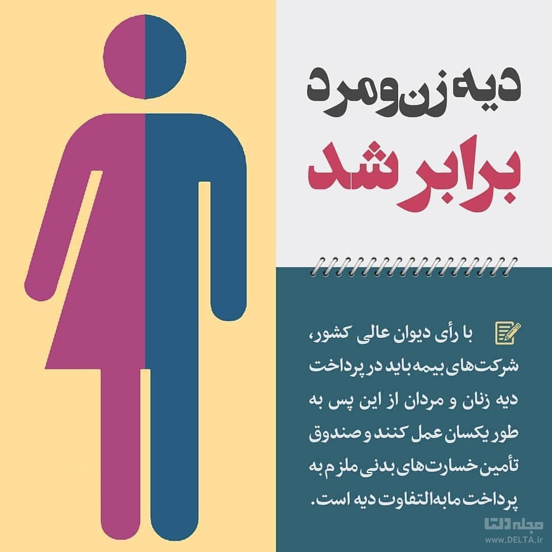 قانون جدید: دیه زن و مرد برابر شد