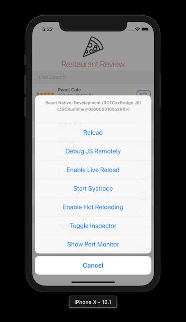 Developer Menu on iOS simulator