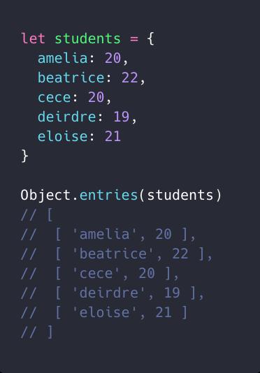 ویژگی Object.entries و تبدیل یک آبجکت به لیست