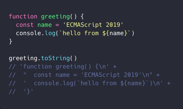 ویژگی Function.toString در اکماسکریپت ۲۰۱۹