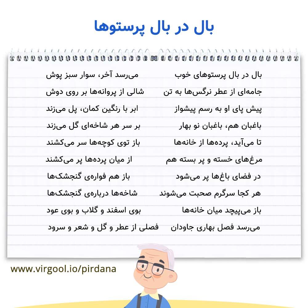 معنی شعر بال در بال پرستوها فارسی پنجم ابتدایی ❤️