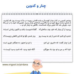معنی شعر چنار و کدوبن فارسی پنجم ابتدایی ❤️