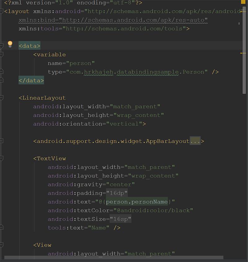 پیاده سازی Data Binding در xml صفحه profile