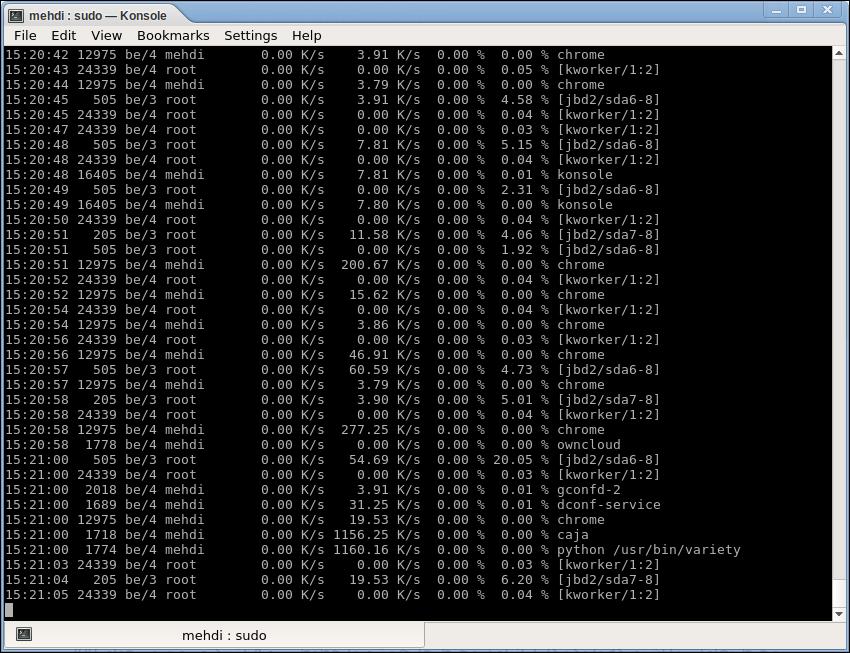 نمایی از ابزار iotop در حالت استفاده از سوئیچهای اشاره شده که معادل لاگهای ذخیره شده هست