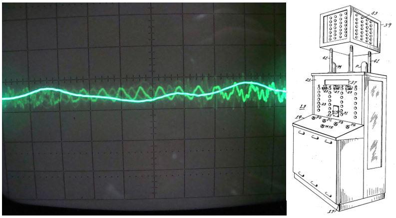 (راست) تصویری از نیماترون برای ثبت اختراع | (چپ) لوله پرتوی کاتدی به عنوان نمایشگر اسیلوسکوپ