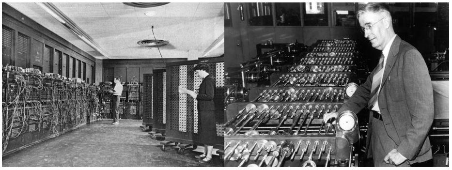 سمت راست: Differential Analyzer؛ سمت چپ: Eniac