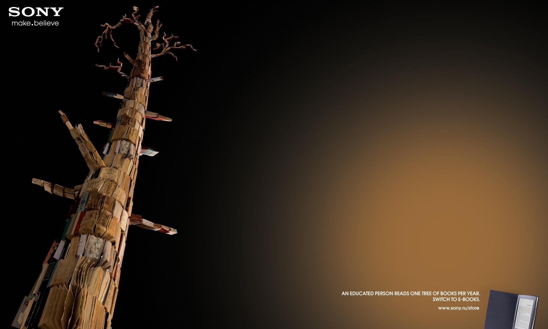 تبلیغ کتابخوان سونی: هر فرد تحصیل کرده در سال به اندازه یک درخت مطالعه می کند.