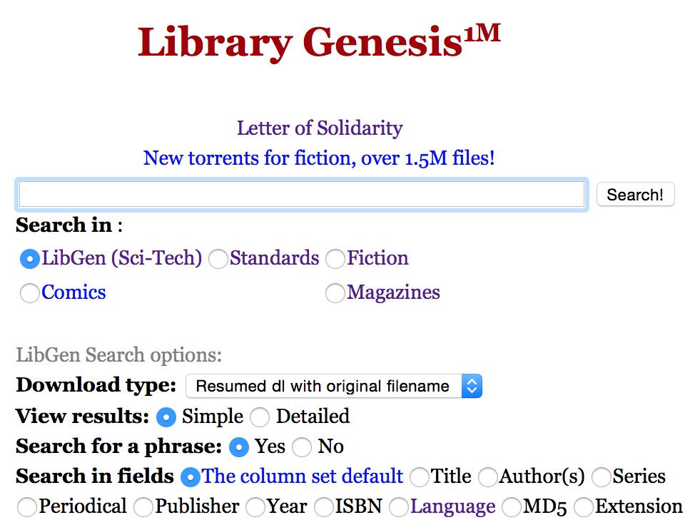 صفحه اول سایت libgen ، بزرگ ترین سایت جست و جو و دانلود کتاب