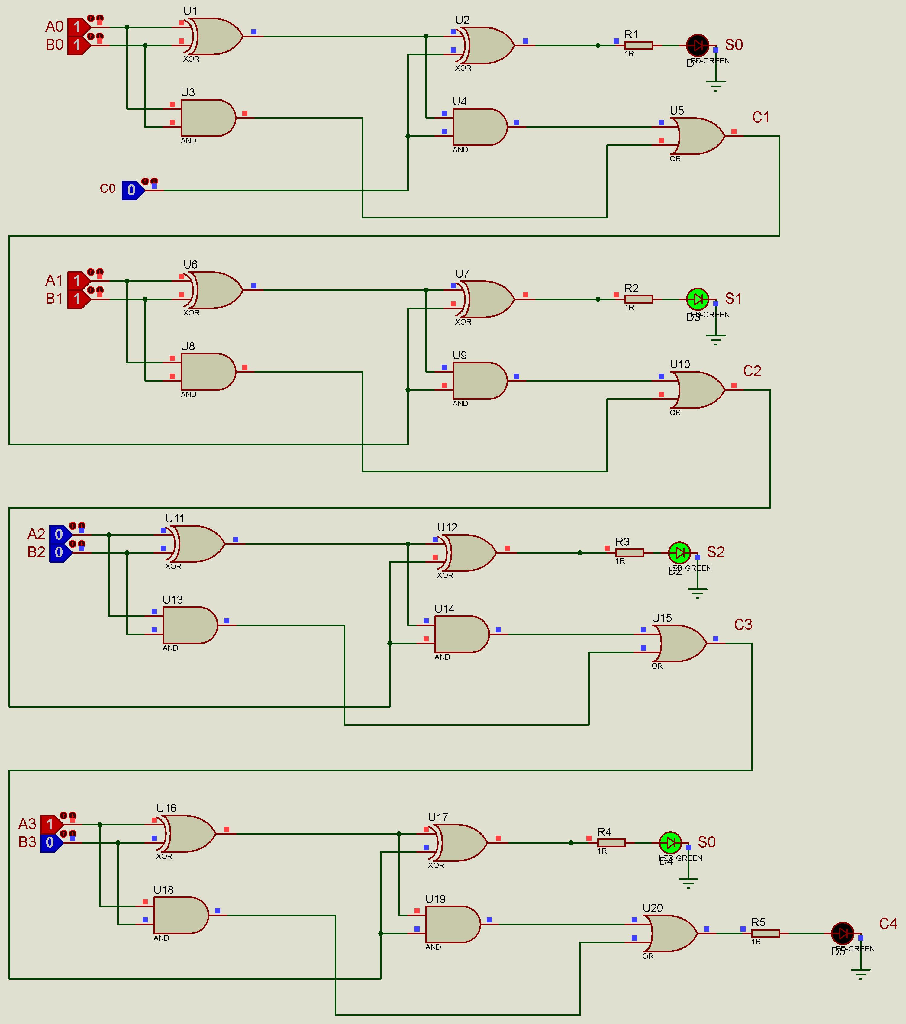 جمع کننده کامل 4 بیتی با نمایش led در پروتئوس
