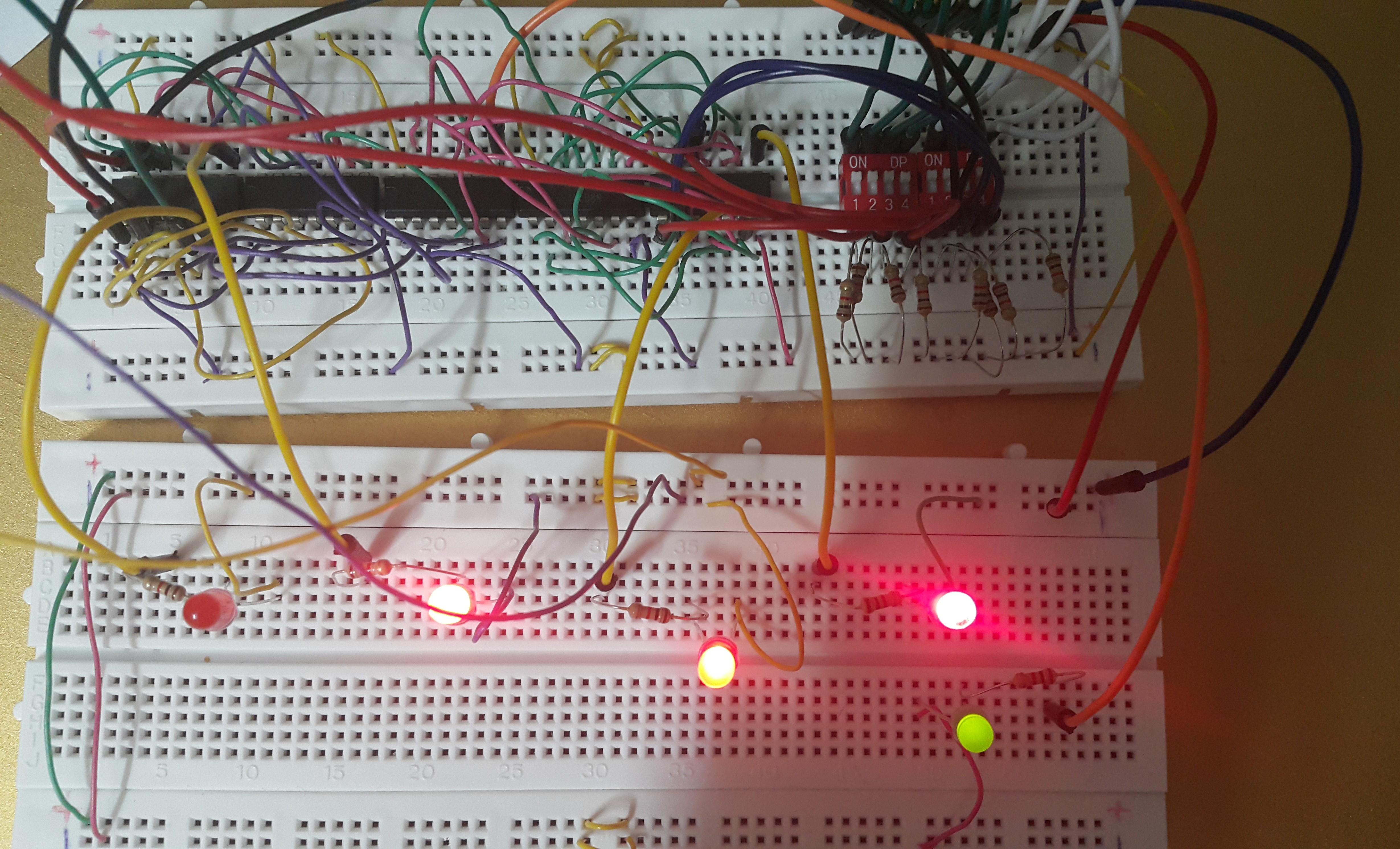 مدار full adder چهار بیتی با dip switch