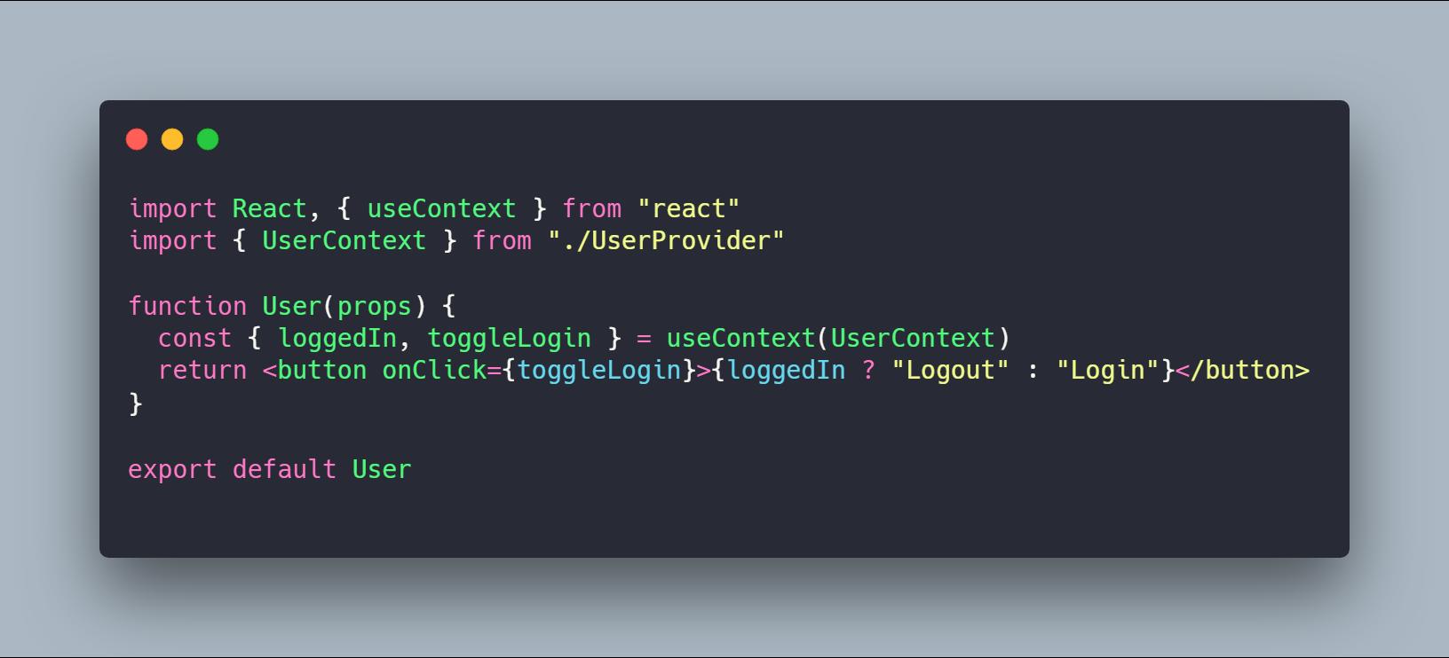 کامپوننت User نوشته شده با Functional Component و هوک useContext