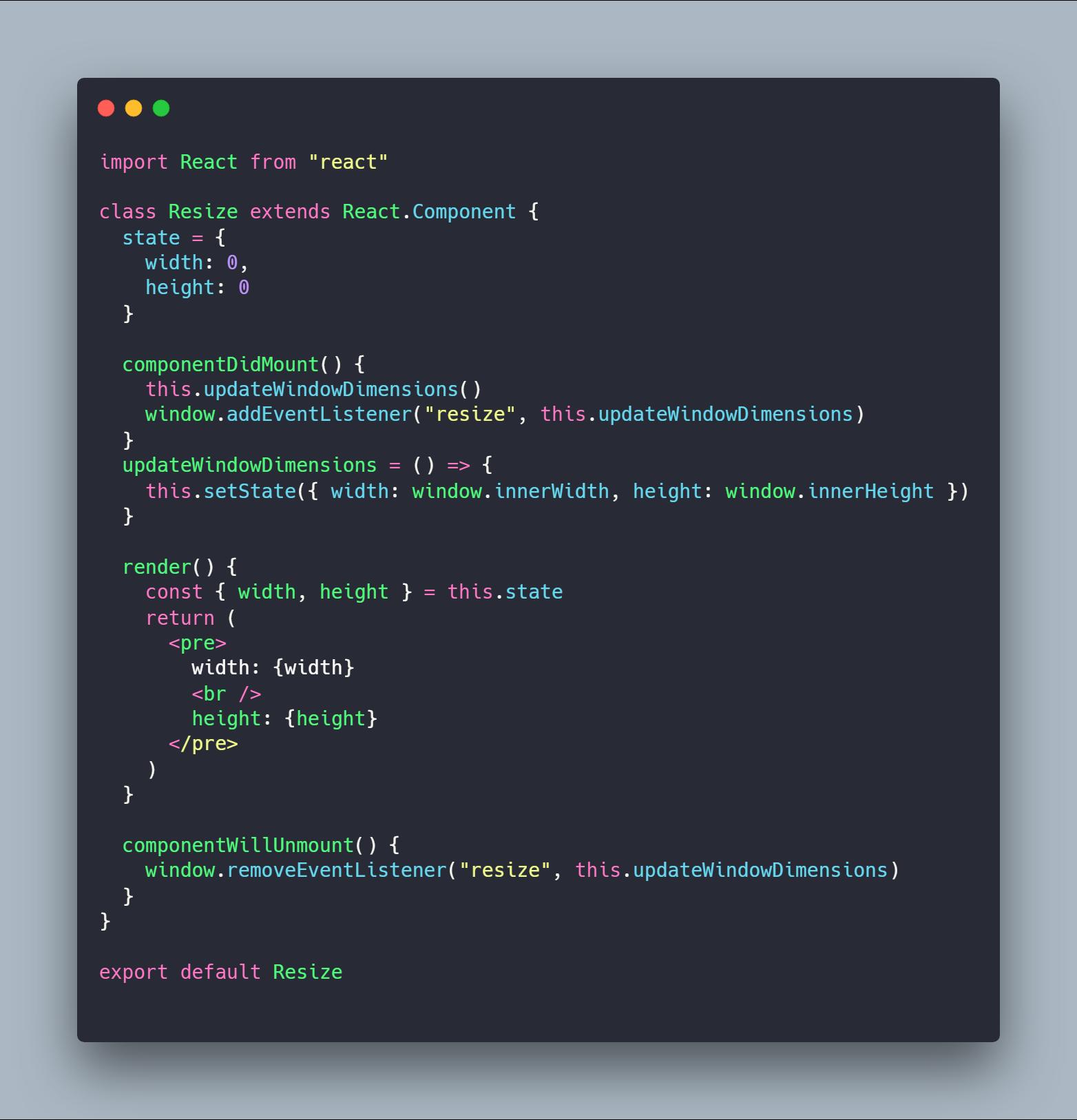 کامپوننت Resize نوشته شده با Class Component