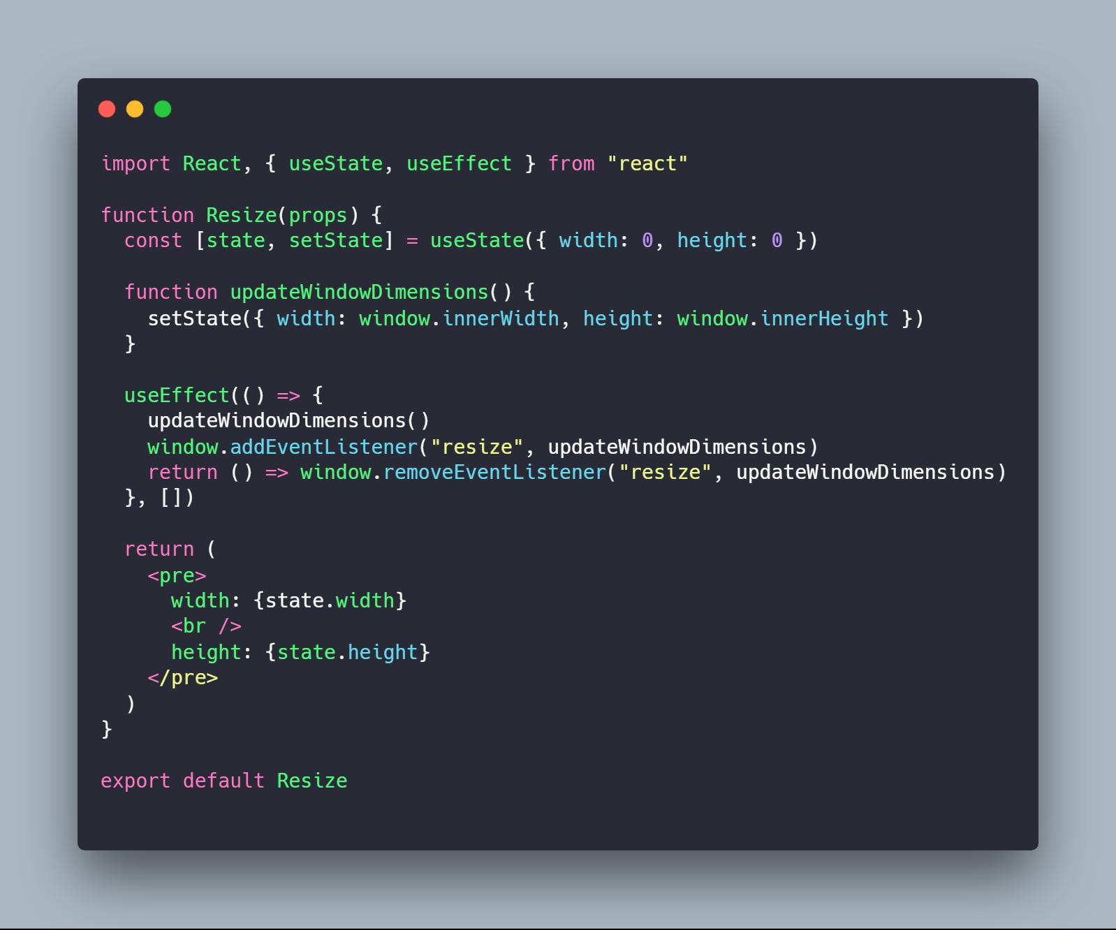 کامپوننت Resize نوشته شده با Functional Component