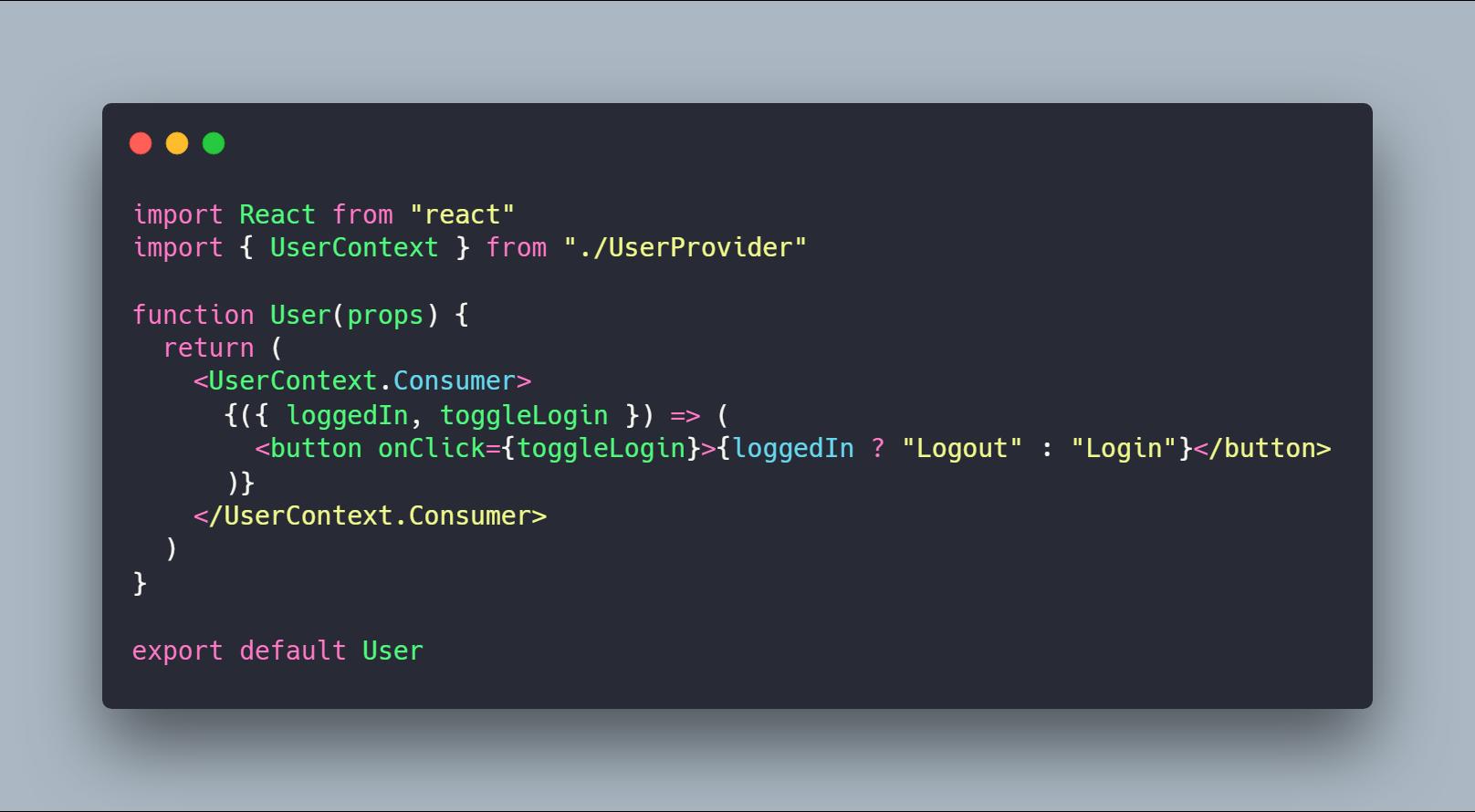 کامپوننت User نوشته شده با Functional Component