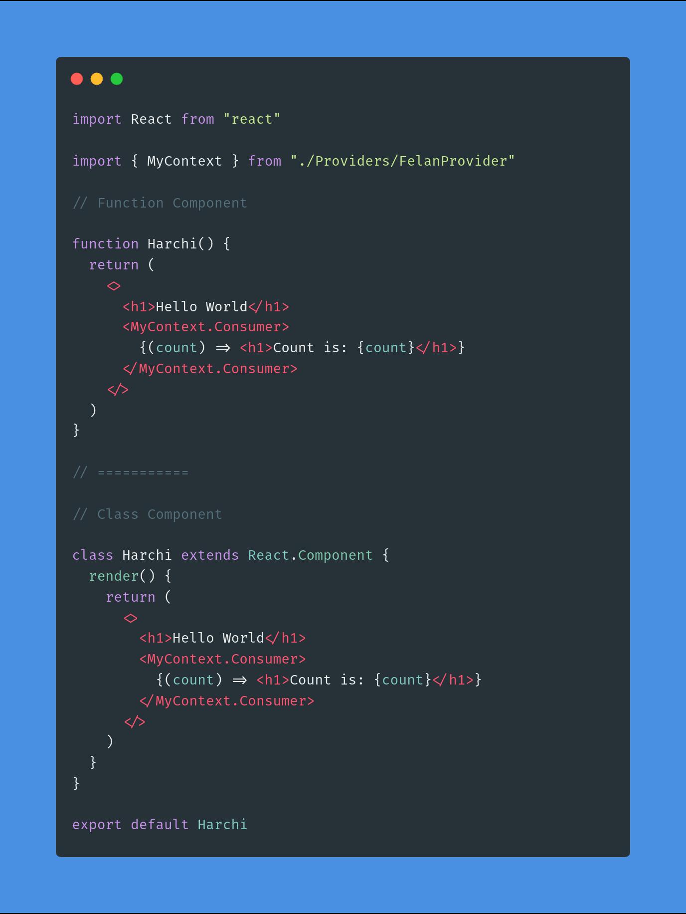 صرفا جهت مثال زدن داخل قطعه کد بالا ۲ مدل کامپوننت رو قرار دادم