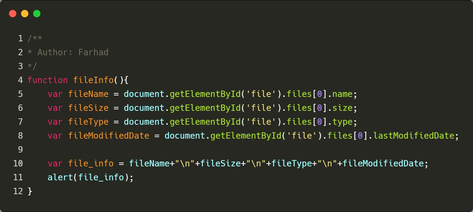بدست آوردن اطلاعات فایل در جاوا اسکریپت
