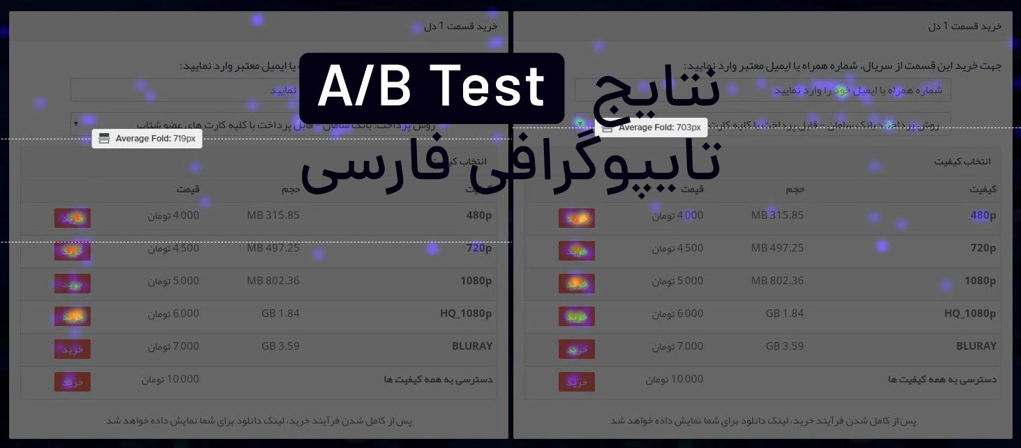 نتایج A/B Test تایپوگرافی فارسی