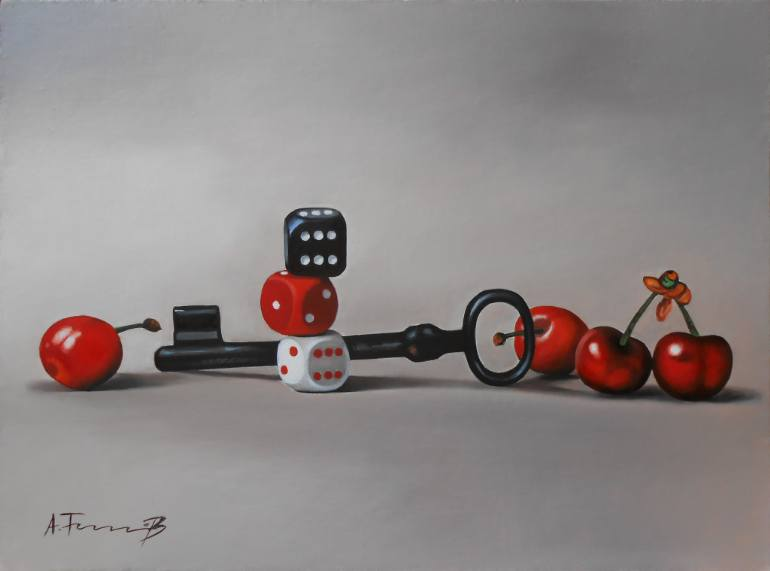 Key and Dice,The Key of Luck, an Oil Painting on Canvas, by Alexander Titorenkov from Bulgaria