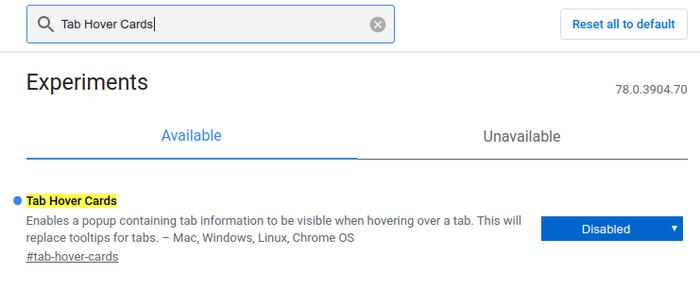 غیرفعال کردن ویژگی جدید Tab Hover Cards در Chrome