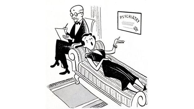 تصویرسازی از یک جلسه تراپی یا رواندرمانی از فروید