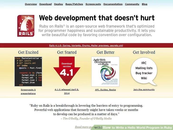 برنامه چاپ عبارت «Hello World» در زبانRuby