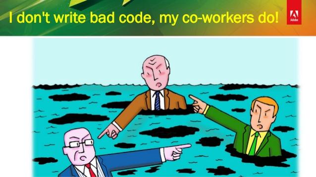 طرحی از ادوبی: من کد بد نمینویسم، همکارم مینویسد.