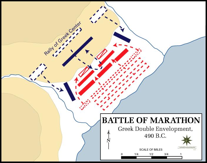 نبرد ماراتون، استقامت و توقف ماشین جنگی هخامنشیان
