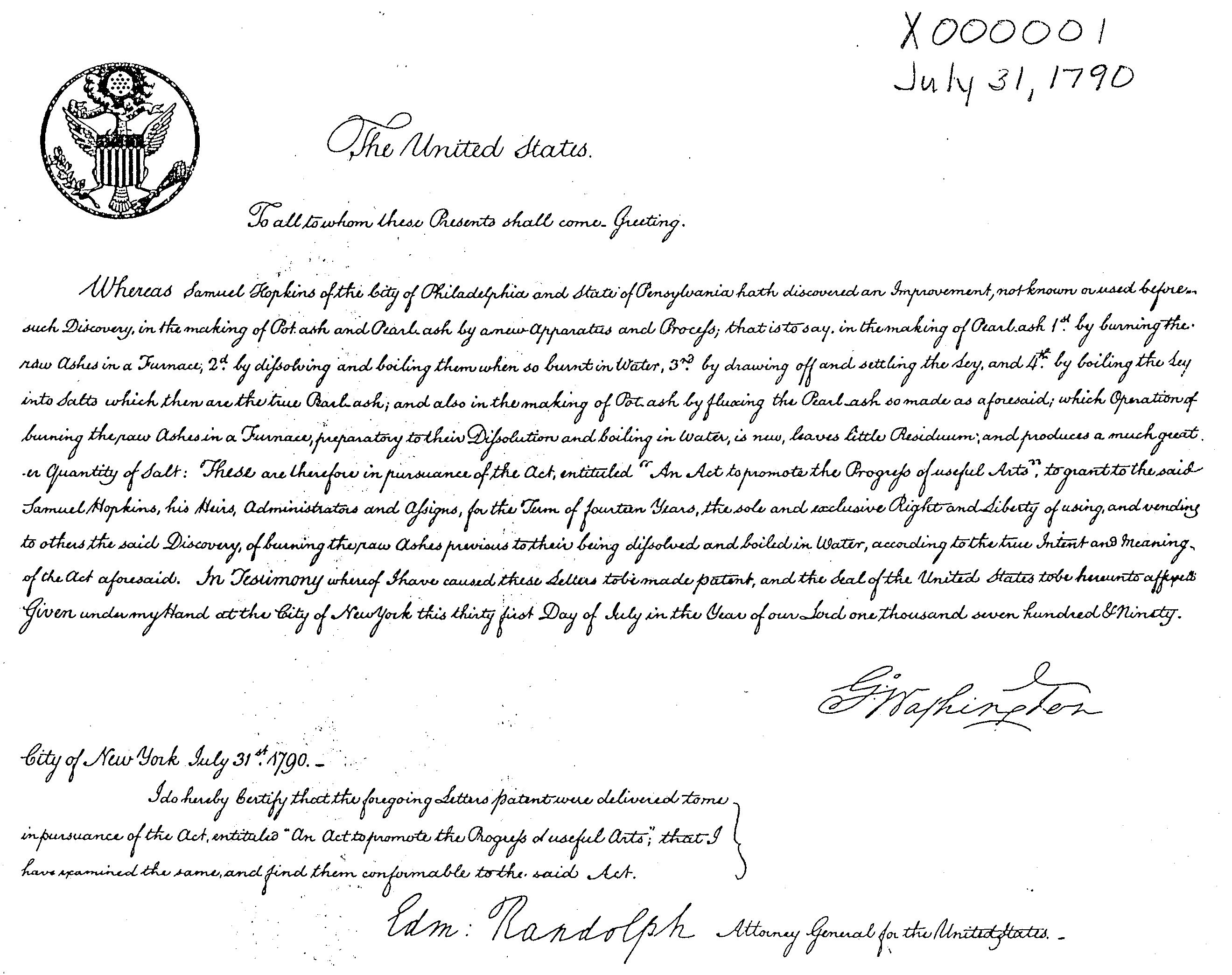 قانون گواهی ثبت اختراع در سال ۱۷۹۰ در آمریکا . مطالعه متن