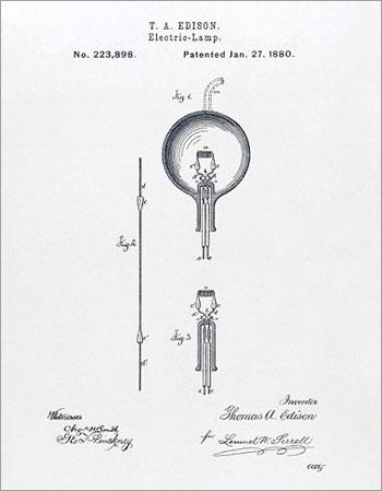 گواهی ثبت اختراع ادیسون برای لامپ الکترونیکی