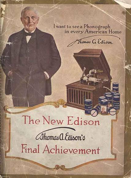 تصویر آگهی ادیسون برای دستگاه فونوگراف از کتابخانه کنگره ایالات متحده