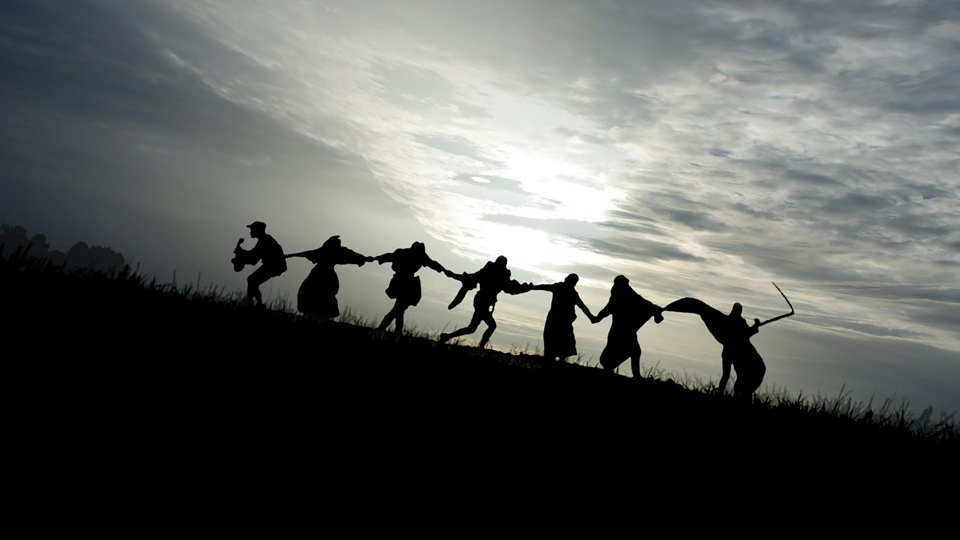 صحنهی نهایی فیلم مهر هفتم اثر برگمان
