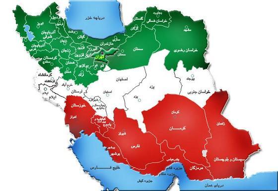 چه ایران خوشگلی دست گرافیستش درد نکنه، مخصوصا که خلیج فارس و دریای خزر اثری از رنگ سبز و قرمز ایران ندارند.