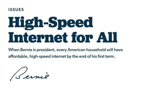 طرح برنی سندرز برای رساندن اینترنت پر سرعت به همه آمریکاییها
