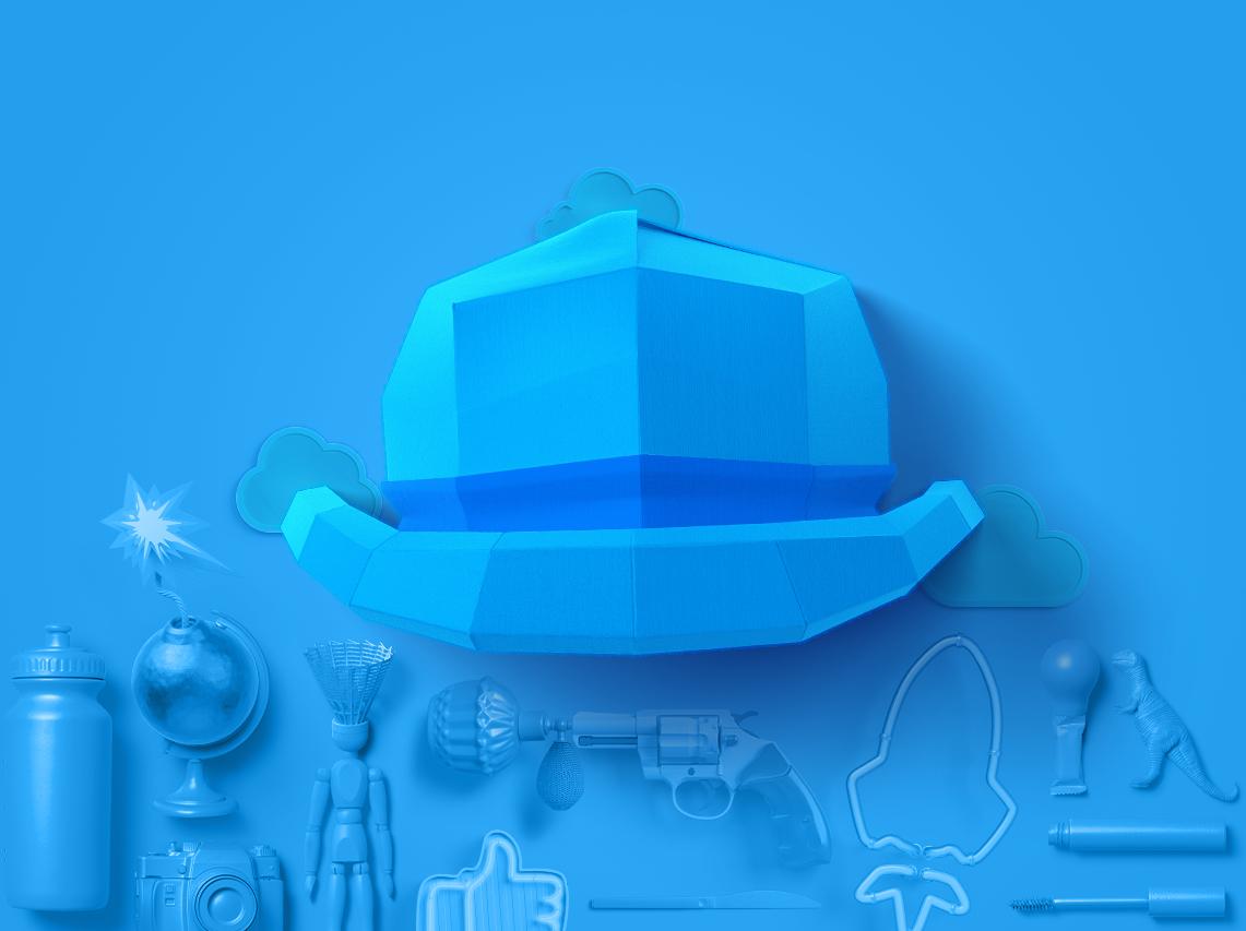 کلاه آبی، آسمانی است که چتر خود را بر تمام مراحل میگستراند. این کلاه ،مدیریت و نظارت بر روند طوفان فکری است که معمولا مدیران پروژه مسئولیت آن را میپذیرند و این کلاه را به سر میگذارند.