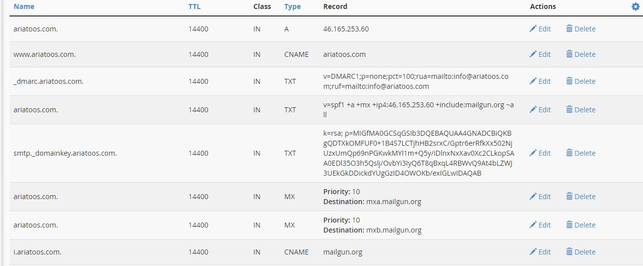 عکس از محیط تنظیمات DNS سی پنل دامنه آریاتوس AriaToos DNS Recordu