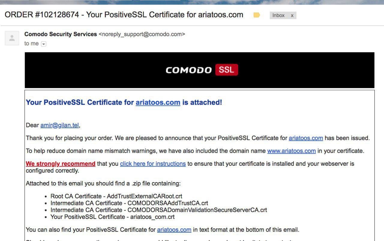 نمونه ایمیل comodo که 4 فایل گواهینامه را برای من ایمیل کرده است root ca intermediate ca intermediate ca domain ariatoos_com.crt