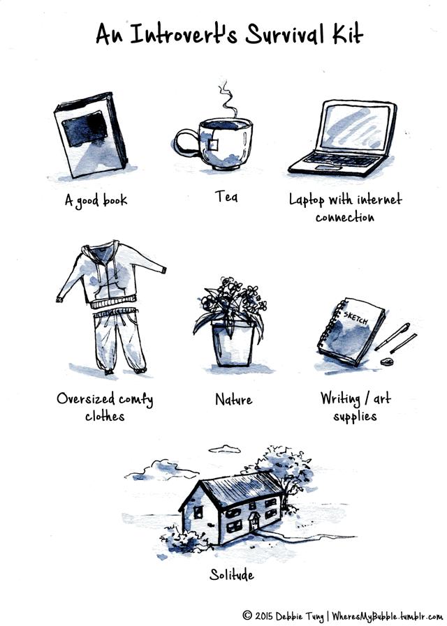 لوازم زنده ماندن یک درون گرا یه کتاب خوب - چای - لپتاپ متصل به اینترنت - لباس راحتی گشاد - طبیعت - لوازم نوشتن/هنر تنهایی