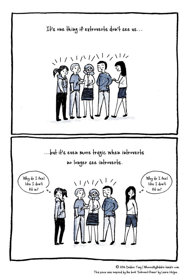 اینکه برونگرا ها ما رو نبینند یه چیزیه... ولی حتی از اون هم دردناکتر وقتیه که درونگرا ها هم درونگرا ها را نمیبینند. چرا من احساس میکنم انگار مثل من در اینجا نیست؟