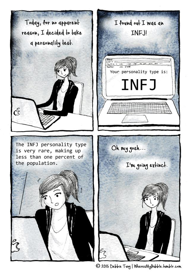 امروز، به دلیل نامعلومی، تصمیم گرفتم یه تست شخصیت بگیرم. فهمیدم یه INFJ بودم تیپ شخصیتی INFJ خیلی کمیاب است و کمتر از یک درصد جامعه رو تشکیل میده. اوه خدای من... من بهتره برم.