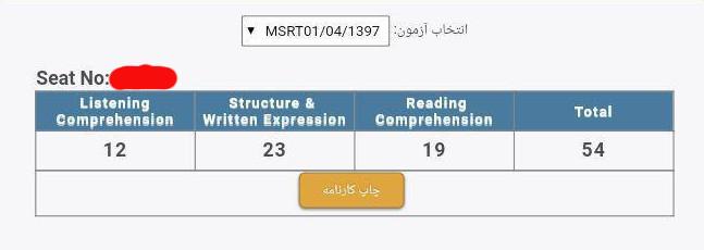 نمونه کارنامه آزمون MSRT
