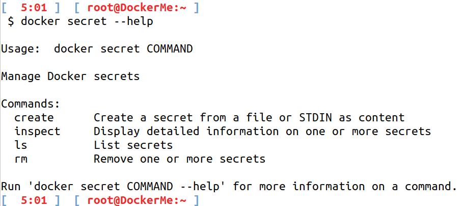 docker secret --help