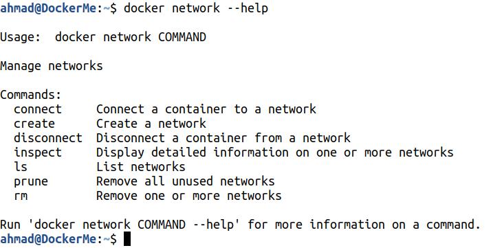 docker network --help
